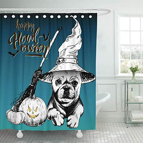 Emvency Fabric Shower Curtain Curtains with Hooks Halloween French Bulldog Dog Wearing The Witch Hat Broom and Pumpkin Lanterns Decorated with Lettering 72