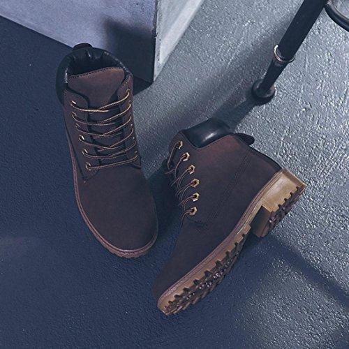 OverDose Frauen Herren Unisex Kunstleder Biker Military Army Martin Stiefel Stiefeletten Freizeitschuhe Schneestiefel Winter Boots A-Brown