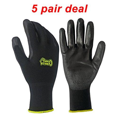 5 PACK Gorilla Grip Gloves - Medium (Work Gloves Gorilla)