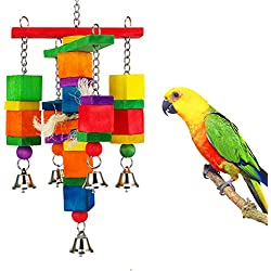 MEWTOGO Colorful Wooden Block Bird Parrot Tearing Toy Suggested for Small and Medium Parrots