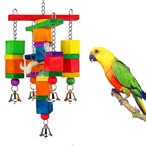 MEWTOGO Natural and Colorful Knots Block Birds Parrot Chewing Toys-Cross… by MEWTOGO