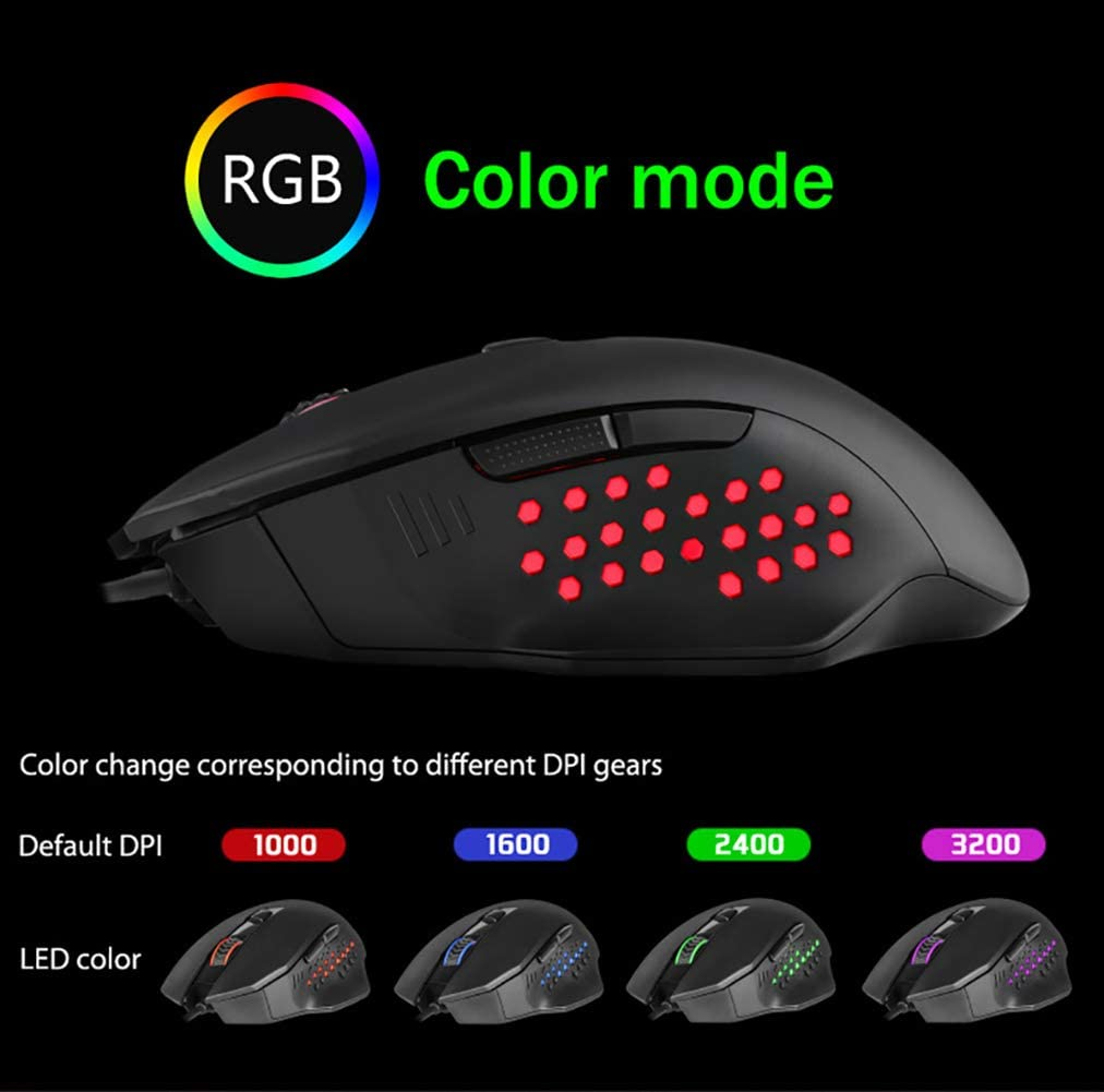 JXH Gaming Optical Mouse,with 4 Colors RGB Backlight Computer Etc Laptop 4 DPI Settings Up to 2400 DPI,Ergonomic,for PC