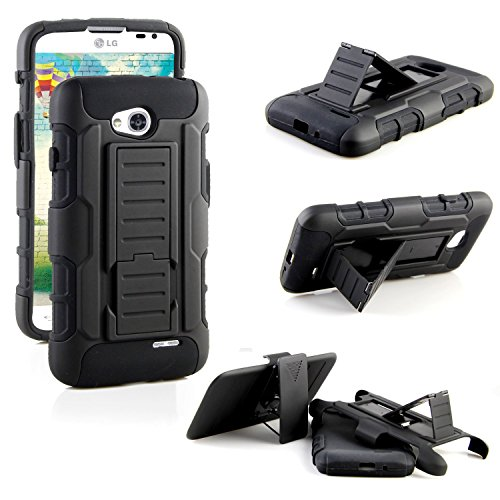 Optimus L70 Case, LG Optimus L70 Case, RANZ (Metro PCS) / Realm LS620 (Boost Mobile) / Optimus Exceed 2 W7 (Verizon) Black Rugged Impact Armor Hybrid Kickstand Cover with Belt Clip Holster Case For LG Optimus L70     (Boost Mobile Phones Case Lg Realm)