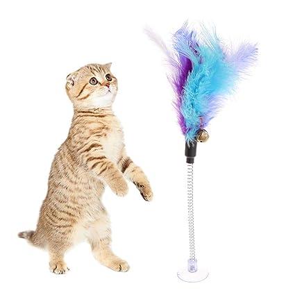 Vivianu Juguete para gato, pluma con ventosa para mascotas, divertido interactivo