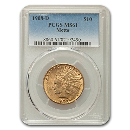 1908 D $10 Indian Gold Eagle w/Motto MS-61 PCGS G$10 MS-61 PCGS