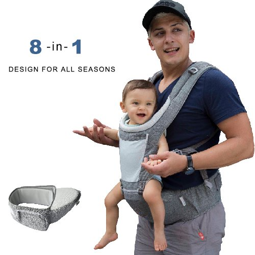Baby Carrier Hip Seat, All Season Soft Carrier, 360 Ergonomic 8 in 1 Baby Sling for Infant, Newborn, Toddler, Nursing, Traveling and Great Hiking Backpack Carrier For Sale
