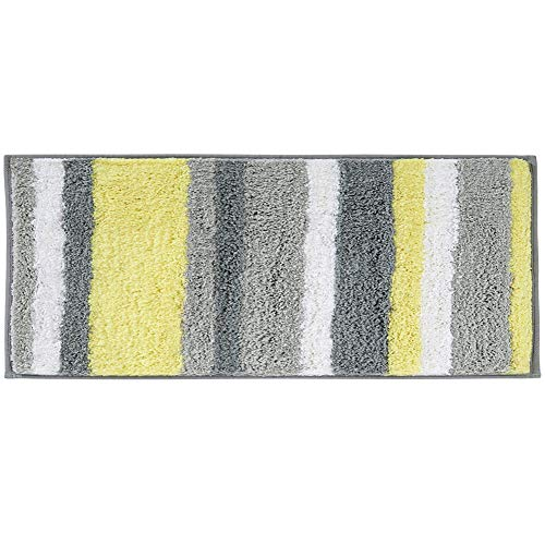 HEBE Microfiber Bathroom Rugs Runner Striped, Non Slip Accent Spa Rugs for Bathroom Absorbent Bath Rug Floor Mat Runner Machine Washable(18x47.2, Yellow/Grey) (Placemats Maxx Tj)