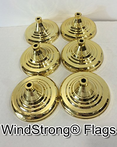 Lot of -6- Gold Deluxe Miniature Table Bases For Hand Held Stick Flags Spear or Ball Top With 10