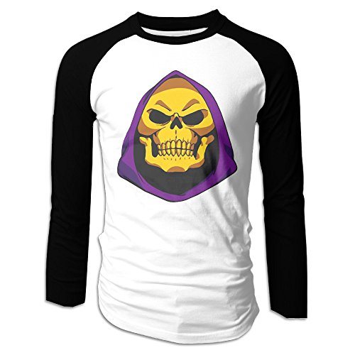 He Man Wacky Wobbler (Long Sleeve Plain Raglan Baseball Jersey Shirts Masters Of The Universe Skeletor Face He-Man)