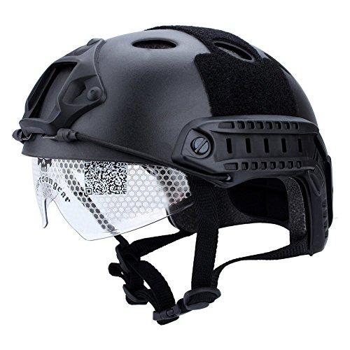 GLOGLOW Casco táctico con Gafas Protectoras, táctica Militar Airsoft Paintball SWAT Casco Protector Cycling Head Protect...