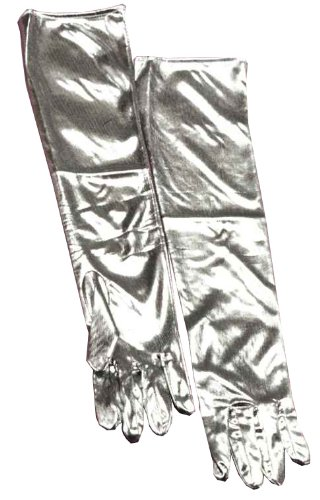 Forum Novelties Women's Adult Lame Costume Gloves, Silver, One Size