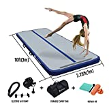 10ft/20ft Air Track, Inflatable Gymnastics Tumbling Air Track Mat with Electric Air Pump for Cheerleading/Practice Gymnastics