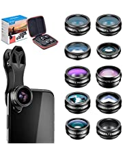 Apexel 10 in 1 Phone Camera Lens Kit Wide Angle/Macro/Fisheye/Telephoto/CPL/Flow/Radial/Star Filter/Kaleidoscope Lens for iPhone and Most Phone