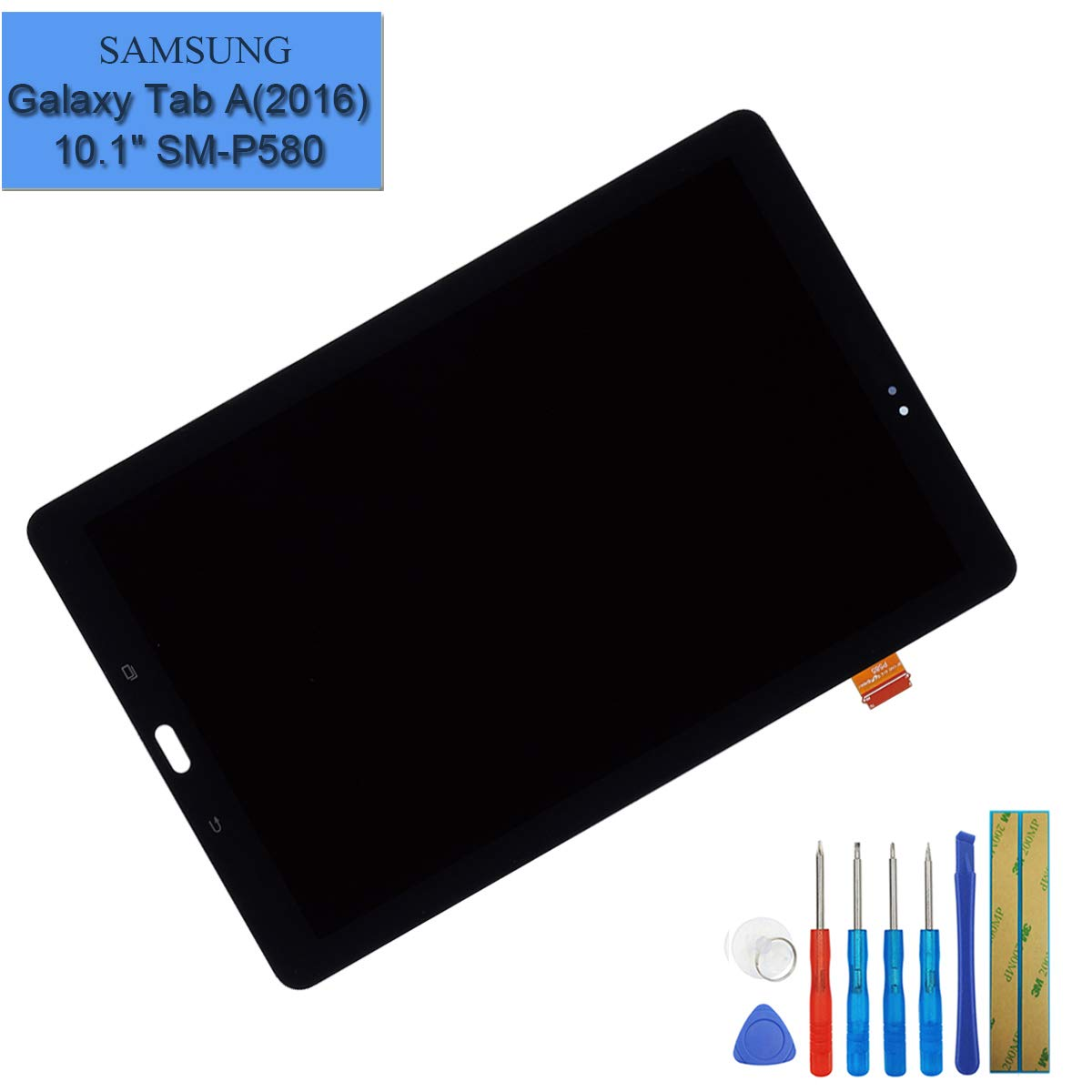 LCD Display Assembly Digitizer Compatible with Samsung Galaxy Tab A 10.1-Inch 2016 SM-P580 P580N / SM-P585 P585M P585Y P585N Display Full Complete Replacement Parts + Tools