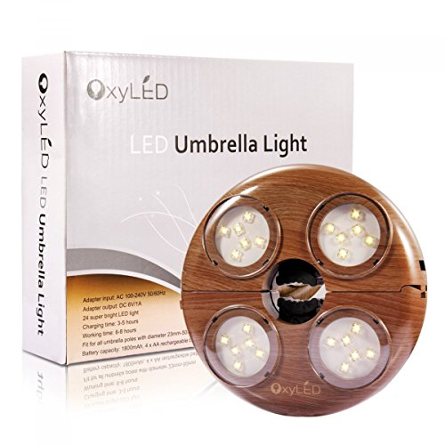 Patio Umbrella Light, OxyLED Cordless 24 LED Umbrella Lights, 280 Lumens Umbrella Pole Light for Beach Umbrella Camping Tent Canopy, Battery Operated, 4 Rechargeable AA Batteries Included by OxyLED (Image #4)