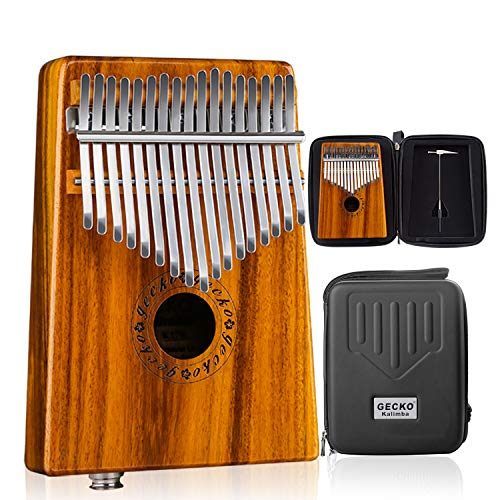 GECKO Kalimba 17 Keys Acacia(KOA) Thumb Piano Built-in pickup and EVA High Performance Protection Box, Tuning Hammer, Professional models,EQ (Solid Koa wood EQ)