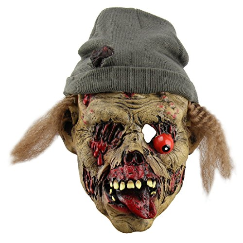Halloween Witch Mask with Hair, Horrific Demon Adult Scary Witch Mask Halloween Party Costume Decorations Creepy Latex Mask (Zombie) -