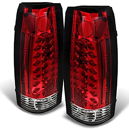 amazon com: for 88-98 chevy c/k series pickup truck gmc sierra rear red  clear led tail lights brake lamps pair: automotive