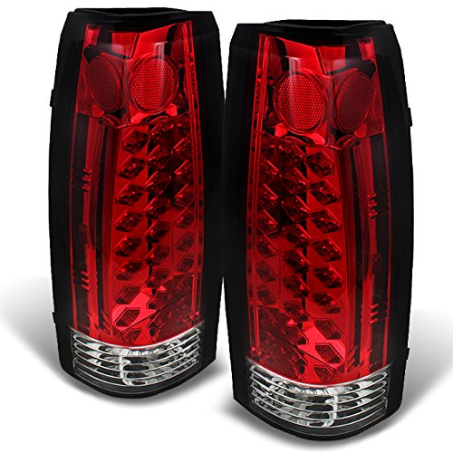 For 88-98 Chevy C/K Series Pickup Truck GMC Sierra Rear Red Clear LED Tail Lights Brake Lamps Pair ()