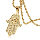 Best Necklace Hands Of Fatima Jewelries - HZMAN Iced Out Cross Cz Inlay Stainless Steel Review