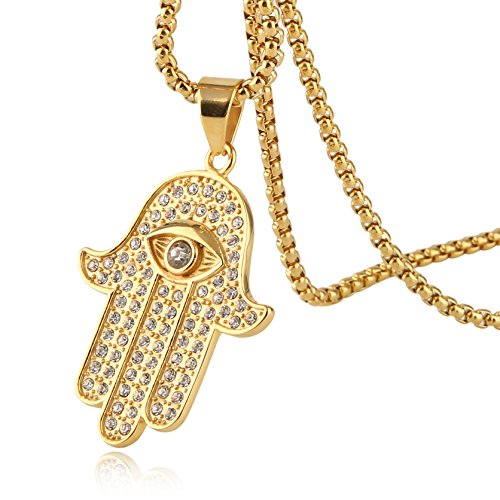 HZMAN Iced Out Cross Cz Inlay Stainless Steel Egyptian Eye Fatima Hamsa Hand Pendant Necklace Success and Protection Lucky (Egyptian Eye)