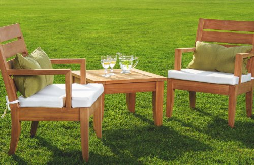 Grade-A Teak Wood luxurious 3 pc Dining Set : 2 Atnas Captain / Arm Chairs & Side Table #WHDSAT2