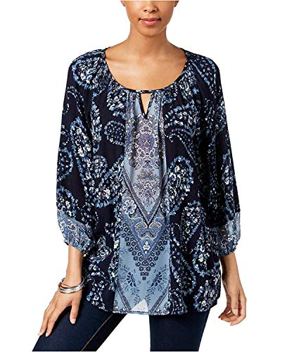 (Style & Co. Women's Printed Keyhole Top Blue Combo XL)