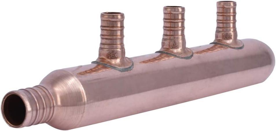 SharkBite 22783 3-Port Closed Copper PEX Manifold, 1 Inch Trunk, 3/4 Inch, 1/2 Inch Ports