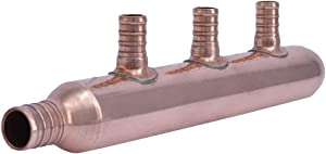 SharkBite 22783 3-Port Closed Copper PEX Manifold, 1 Inch Trunk, 3/4 Inch, 1/2 Inch Ports