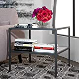 Cheap Studio Designs Home 71002.0 Camber One Shelf End Table in Pewter with Clear Glass