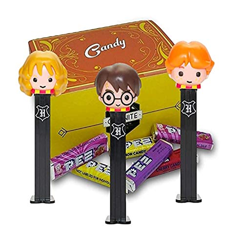 Harry Potter Pez Candy Dispensers Set - With 6 EXTRA Pez Candy Refills | One Of Each Harry Potter, Hermione Granger and Ron Weasley | Harry Potter Party Favors In A Candy Box
