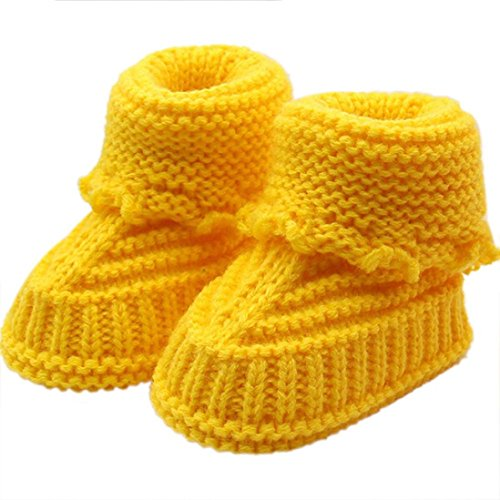 IEason Baby Shoes, Toddler Newborn Baby Knitting Lace Crochet Shoes Buckle Handcraft Shoes (Same Size, Yellow)