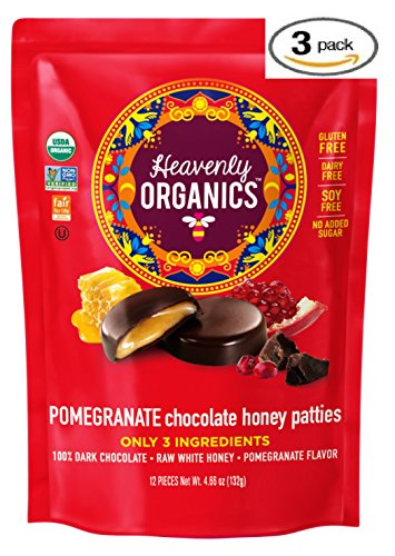 Heavenly Organics Pomegranate Chocolate Honey Patties  3 Bags  Made With 100  Organic Cocoa And 100  Organic Raw White Honey  Non Gmo  Fair Trade  Kosher  Dairy   Gluten Free  No Sugar Added