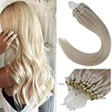 LaaVoo 16 Inch Solid Color Light Blonde Pre Bonded Natural Straight Cold Fusion Hair Extension Micro Loop Ring 100% Real Human Hiar Extensions 50 Gram 50 Strands 1g/Strand