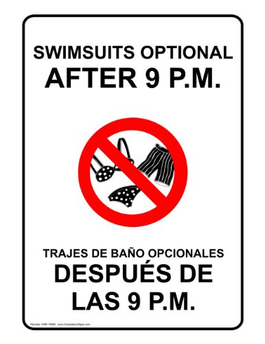 ComplianceSigns Vinyl Label, 5 x 3.5 in. with Swimming Pool / Spa Info in English + Spanish, 4-Pack - English Traje In