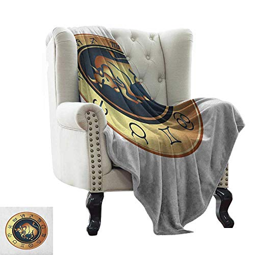 (BelleAckerman Children's Blanket Zodiac Taurus,Circle with Twelve Signs Bull Icon in The Middle Future Cosmos, Pale Brown Yellow Indigo Lightweight Extra Soft Skin Fabric,Not Allergic 30