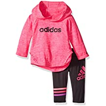 adidas Baby Girls' Long Sleeve Top and Pant Set, Shock Pink Heather, 18 Months