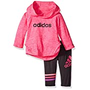adidas Baby Girls' Long Sleeve Top and Pant Set, Shock Pink Heather, 6 Months
