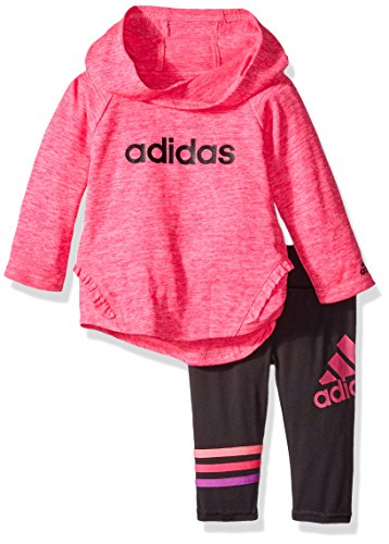 adidas Baby Girls' Long Sleeve Top and Pant Set, Shock Pink Heather, 24 Months
