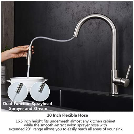 Kitchen Kitchen Faucet,Kitchen Sink Faucet,Brushed Nickel Touch Kitchen Faucets with Pull Down Sprayer,Modern Best Multiple… modern sink faucets