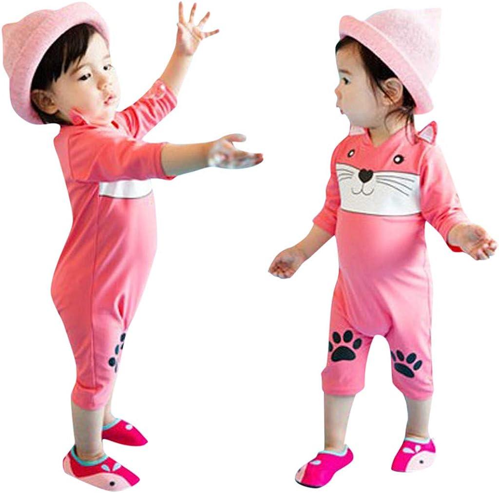Plustrong Kids Girls Boys 3D Print One Piece Swimsuits Short Sleeve Rashguard Shirts Bathing Suit