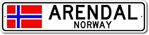 Arendal, Norway - Norwegian Flag Street Sign - Metal Novelty Sign for Home Decoration, Personalized Gift Sign, Man Cave Sign, Street Sign, Norway City Sign, Made in USA - 4x18 inches
