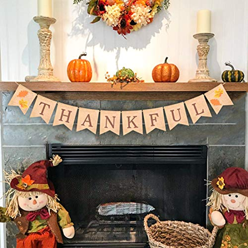 ASSUN Thanksgiving Banner Thankful Banner Burlap Garland Bunting Banner Thanksgiving Day Supplies for Home Party Decoration