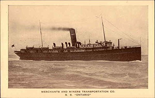 Merchants and Miners Transportation Co. S.S. Ontario Boats Ships Original Vintage Postcard from CardCow Vintage Postcards