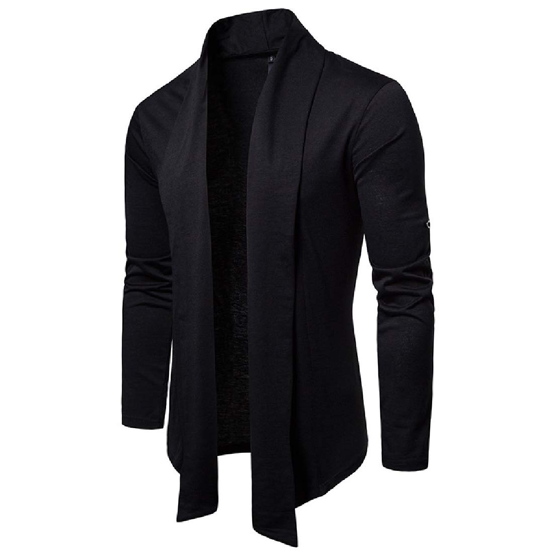 Vska Mens Solid Autumn Long-Sleeve Outwear Turn Down Collar Cardi Sweaters