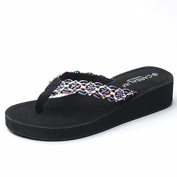LIXIONG Tragbar Sommer Pantoffeln Strand Sandalen Mode Outdoor Schuhe Weiß, Schwarz, Braun Modeschuhe ( Farbe : Schwarz , größe : EU36/UK4/CN36 )