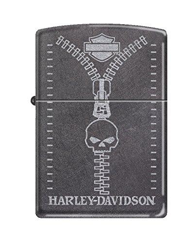 (Zippo Harley-Davidson Skull Zipper Pocket Lighter, Gray Dusk)