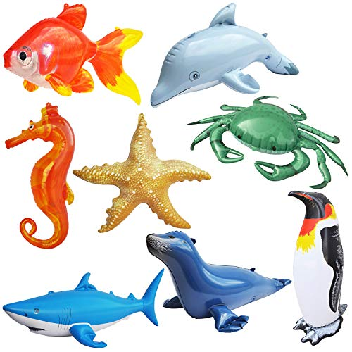 - Inflatable Ocean Life Sea Underwater Assorted Bathtub Toys Educational 8Count- by Jet Creations An-Ocean8