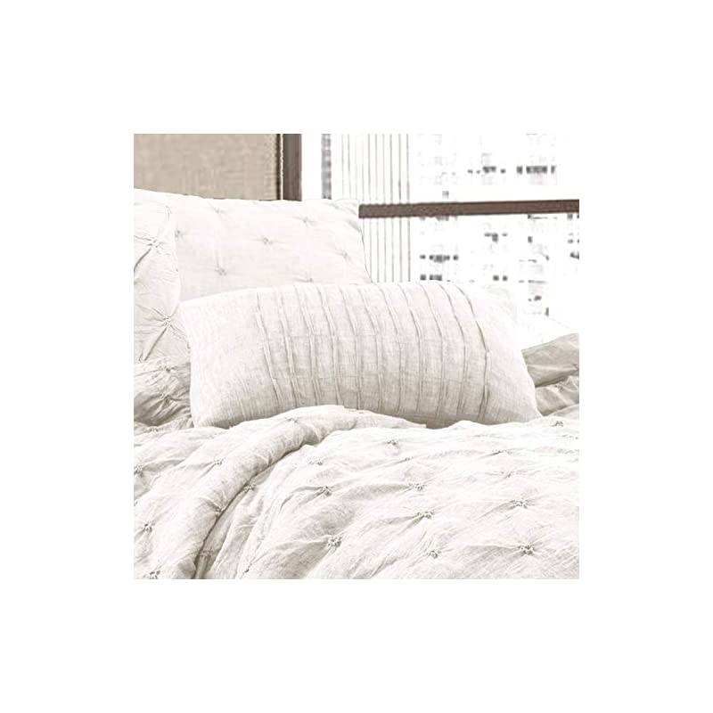 Lush Décor Ravello Shabby Chic Style Pintuck White 5 Piece Comforter Set with Pillow Shams - King Comforter Set