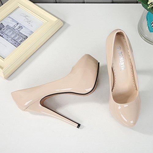 Alto Para Tacon Sintético Mujer Beige Pu Material De Ochenta Con Zapatos Vestir Plataforma xqXTTz